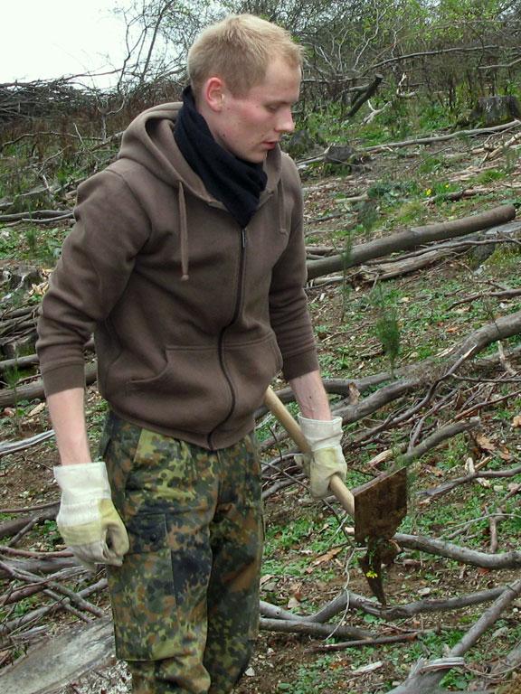 Mit grobem Werkzeug wird dem Unterholz zu Leibe gerückt